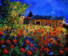 """Pol Ledent     """"red poppies in Houroy"""""""