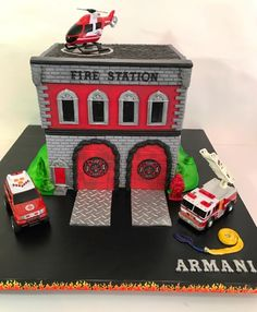 Fire station cake, firefighter party, firestation cake, fire department cake