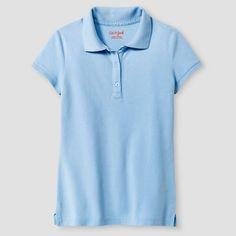 Girls' Pique Polo Shirt - Cat & Jack, Girl's, Size: Medium, Light Blue