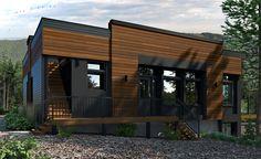 Modèles   Mini Maison Laprise Cafe Bistro, Modern Exterior, Modern Minimalist, Architecture Design, House Plans, Sweet Home, Garage Doors, Building, Outdoor Decor