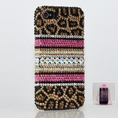 Swarovski Luxury Leopard Crystal Bling Case Cover for iphone 4 / 4s 100% Handcrafted by BlingAngels + Branded Pink Carrying Pouch .. I want it!