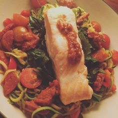 Dinner! Chorizo tomato and pepper in the courgetti with some spinach salmon and pesto. Put the chorizo in a cold pan then turn on and use the fat from that #supertasty  #burnfat #cleaneating #diet #determinted #eatclean #eatwell #fit #fitfood #fatburn #fitlife #gains #healthy #highprotein #goodfat #goodfood #lowcarb #leanout #musclefood #musclebuild #nutrition #protein #refuel #slimdown #stronggirls #strongwomen #healthyeating by janechittick