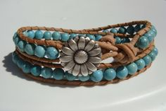 Turquoise Magnesite Beaded Leather Wrap Bracelet by tinacdesigns, $25.00