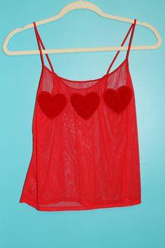 Red Sheer Heart Tank
