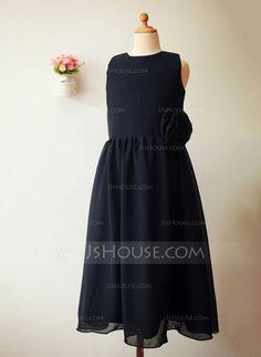 A-Line/Princess Scoop Neck Ankle-length Flower(s) Chiffon Sleeveless Flower Girl Dress Flower Girl Dress