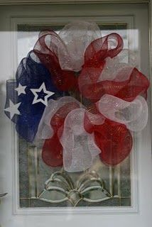 red, white, and blue patriotic mesh wreath---cute idea for of July, Memorial Day, etc. (Thank you Daddy) Patriotic Wreath, Patriotic Crafts, Patriotic Decorations, July Crafts, 4th Of July Wreath, Holiday Decorations, Flag Wreath, Patriotic Party, House Decorations