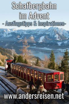 Du suchst Inspirationen für einen Ausflug auf dem Schafberg im Advent? Ausflugstipps für die Zahnradbahn und weitere lohnenswerte Ausflugsziele im Advent mit dem Zug u.a. im Salzkammergut im Beitrag. #zugreise #ausflugstipps #ausflugsziele #schafberg #salzkammergut #oeberoesterreich Salzburg, Advent, Around The Worlds, Journey, Mountains, Nature, Travel, Europe, Night Train