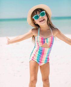 Girls Cute Striped Swimsuit