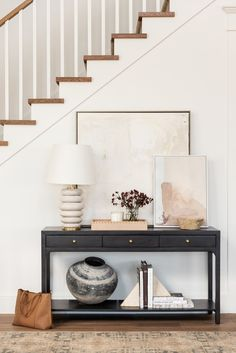 Home Interior Design How To Style Your Entryway Console.Home Interior Design How To Style Your Entryway Console Hallway Table Decor, Entryway Console Table, Entryway Table Decorations, Decorate Console Tables, Entryway Furniture, Entry Hall Table, White Console Table, Entry Wall, Modern Console Tables
