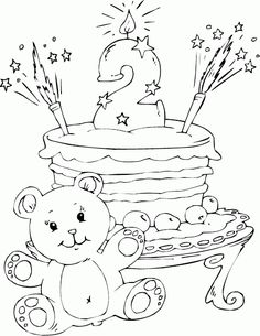 Birthday Cake Age 2 Coloring Page