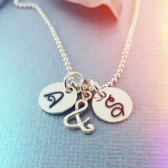 Personaized Initial Necklace - Ampersand Neckace - Two Initial Charms - Couples Necklace - Personali Initial Charm Necklaces, Couple Necklaces, Initial Pendant, Alphabet Images, Alphabet Design, Cute Love Images, Happy Birthday Wallpaper, Hold My Hand, Hand Stamped Jewelry