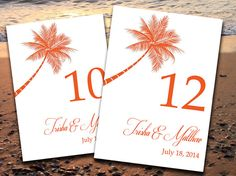 Beach Wedding Table Number Template  Lazy by PaintTheDayDesigns, $10.00 - Can change color for FREE