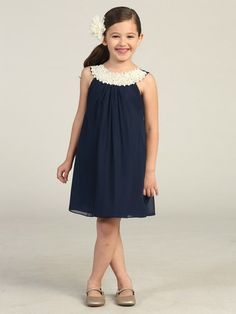 Pearl Neck Navy Chiffon Dress | Girls' Sizes 4-16