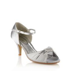 Debenhams-Silver mid heeled satin court shoes - Mid heel shoes - Shoes & boots - Women -