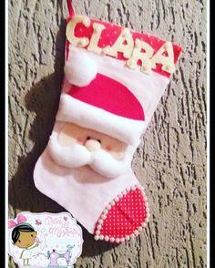 Bota personalizada  para Clara  🎅❤ #artesdamarjorie #feltro  #natal  #artesanato