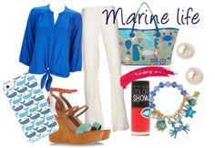 Marine life by delrain featuring platform sandalsWallis blue button shirt / Linen trousers / Marc by Marc Jacobs platform sandals / Jonathan Adler  tote / Betsey Johnson beading charm / Juliet  Company pearl jewelry / Aimée Wilder tech accessory / Topshop lipstick / Maybelline nail polish, $4.65