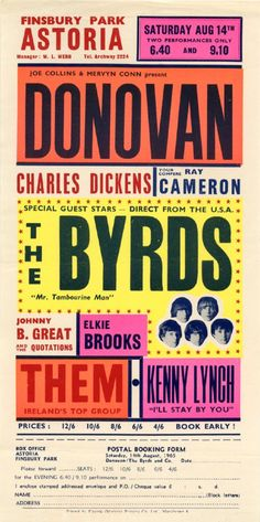 1965 Concert Poster with Donovan, The Byrds, Johnny B. Great & The Quotations, Elkie Brooks, Them and Kenny Lynch - Great colors!