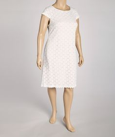 Look at this #zulilyfind! White Lacy Eyelet Dress - Plus by Tiana B #zulilyfinds