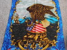 HONOR 11/11  Fabric Panel--Eagle and Shield  patriotic  1960s  vintage. $11.00, via Etsy.