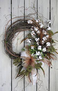 Primitive Cotton Boll Wreath, Raw Cotton Bolls, Country Wreath, Burlap Bow, Indoor Wreath, Everyday Wreath, Primitive Decor, Free Shipping