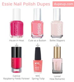 Just added some essie nail polish dupes at Dupe Up!Haute in Heat - Dupe:Raspberry Fields ForeverCute as a Button - Dupe: Spring TulipBallet Slippers - Dupe: How Romantic