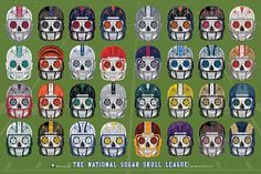 National Sugar Skull League Sugar Skull Day of the Dead Calavera Poster Inspired by the all 32 NFL professional football teams. Teams include:  Buffalo Bills  Miami Dolphins  New England Patriots  New York Jets  Baltimore Ravens  Cincinnati Bengals  Cleveland Browns  Pittsburgh Steelers  Houston Texans  Indianapolis Colts  Jacksonville Jaguars  Tennessee Titans  Denver Broncos  Kansas City Chiefs  Oakland Raiders  San Diego Chargers  Dallas Cowboys  New York Giants  Philadelphia Eagles…