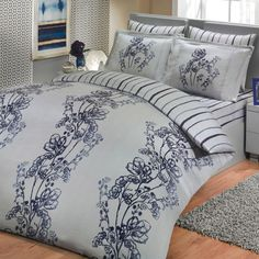 Sateen Duvet Cover Set Sacha – beautiful silk-like natural cotton Turkish sateen bedding set! Gorgeous smooth silver background with delicate night blue pattern. Duvet Sets, Duvet Cover Sets, Home Textile, Bed Sheets, Comforters, Pillow Cases, Modern Design, Blanket, Pillows