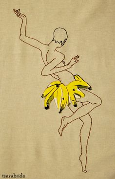 Josephine Baker (based on the illustration by Paul Colin)  embroidery & hand painted leather applique on linen.... loveit!