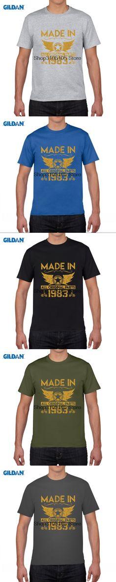 GILDAN funny men t shirt t-shirt top online sales 33rd Birthday Made In 1983 Round Collar Casuals blue tee shirt