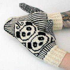 Panda mitts by Niina Laitinen - pattern for free - Finnish Knitting Club, Knitting Charts, Knitting Stitches, Knitting Patterns Free, Baby Knitting, Crochet Patterns, Free Pattern, Crochet Gloves, Knit Mittens