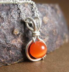 Orange Jewelry Tangerine Orange Cat's Eye O Loop by holmescraft