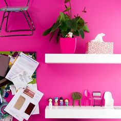 Don't forget to dream, especially if your dream is a pink wall. Who doesn't love a pink wall? A hot almost acid pink, Resene Smitten is in your face and unashamedly girly. Perfect to pink up your place. We love how Debra Yearsley has used this in her study. #Resene #Resenepinks #pinkwalls