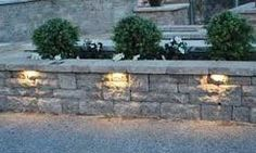 Accent your garden and retaining wall projects while providing the warmth, safety and security of illumination. Retaining Wall Lighting, Hardscape Lighting, Outdoor Decor, Garden Wall, Outdoor Lighting, Column Lights, Hardscape, Outdoor Living, Landscape Lighting