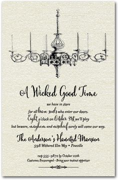 Shimmery White Vintage Chandelier Halloween Party Invitations