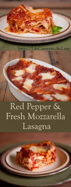 Red Pepper and Fresh Mozzarella Lasagna