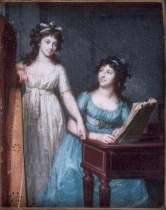 Portrait des demoiselles Flamand, avec une harpe, un piano et une partition de musique, vers 1790-95 François Dumont l'aîné