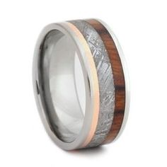 Meteorite, Copper And Waterproof Ironwood Inlaid On A Gold Band by Johan Rust