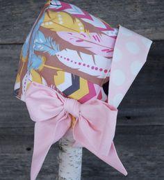 NOTE - feather fabric is still available :) Reversible Baby Bonnet Easter Bonnet sun bonnet by eddieandsofia