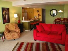 Bright, comfy Living and Dining area at Lake of the Ozarks Condo - sleeps 6-8