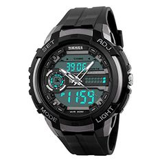 BesWlz Mens Digital LED Sport Watch Quartz Military 3 Time Display Back Light 50M Water Resistant Titanium *** Click image to review more details.Note:It is affiliate link to Amazon.