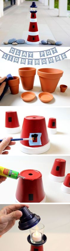Clay pot lighthouse tutorial - take varying sizes of clay pots, paint them, and feature a cute lantern on top. Clay Pot Projects, Clay Pot Crafts, Craft Projects, Projects To Try, Diy Clay, Shell Crafts, Beach Crafts, Fun Crafts, Diy And Crafts