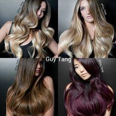 @bellamihair Balayage Hair Extensions by Guy Tang (from Top left clockwise: 1c/18, 8/60, 2/6 and bottom right custom colored with 1c/18 base)