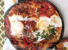 Ottolenghi shakshuka (picture only - in Plenty cookbook) Plenty Cookbook, Ottolenghi, Food Ideas, Brunch, Healthy Eating, Ethnic Recipes, Kitchen, Eating Healthy, Cooking