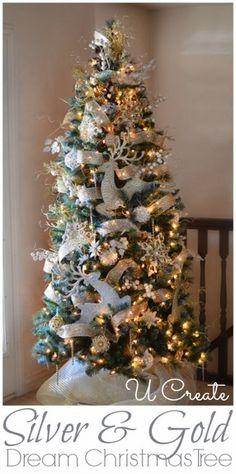 Silver & Gold Dream Christmas Tree u-createcrafts.com