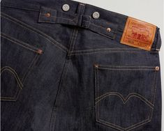 A pair of jeans from 1933 had belt loops, but still had the cinch and suspender buttons, offering a variety of ways they could be worn. Some owners wore their jeans . Vintage Jeans Mens, Suspender Jeans, Levi Strauss & Co, Clothing Labels, Suspenders, Denim Pants, Stretch Denim, Men Casual, Menswear