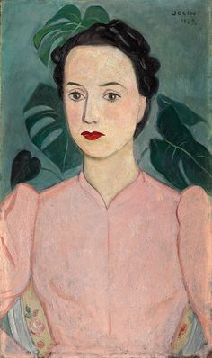 "thunderstruck9: ""Einar Jolin (Swedish, 1890-1976), Damporträtt i skärt [Portrait of a woman in pink], 1939. Oil on canvas, 55x33 cm. """