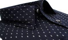 indigo blue πουκάμισο Manetti με μικροσχέδιο slim 59€.