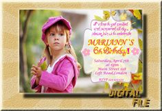 Birthday Invitation Girl Birthday Invitations by DigitalitemsShop