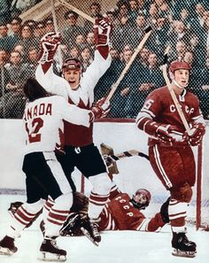 On this day in Paul Henderson scores the series-winning goal for Canada in the final minute of the final game of the ice hockey Summit Series between Canada and the Soviet Union. Every hockey. Canadian Hockey Players, Nhl Players, Outdoor Rink, Canada Hockey, Hockey Pictures, Hockey World, Summit Series, Iconic Photos, Hockey Cards
