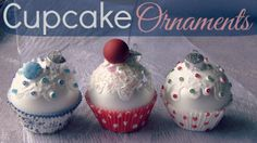 DIY Christmas cupcake ornaments - fresh from the oven. ;) Watch the tutorial video on my SoCraftastic YouTube channel.